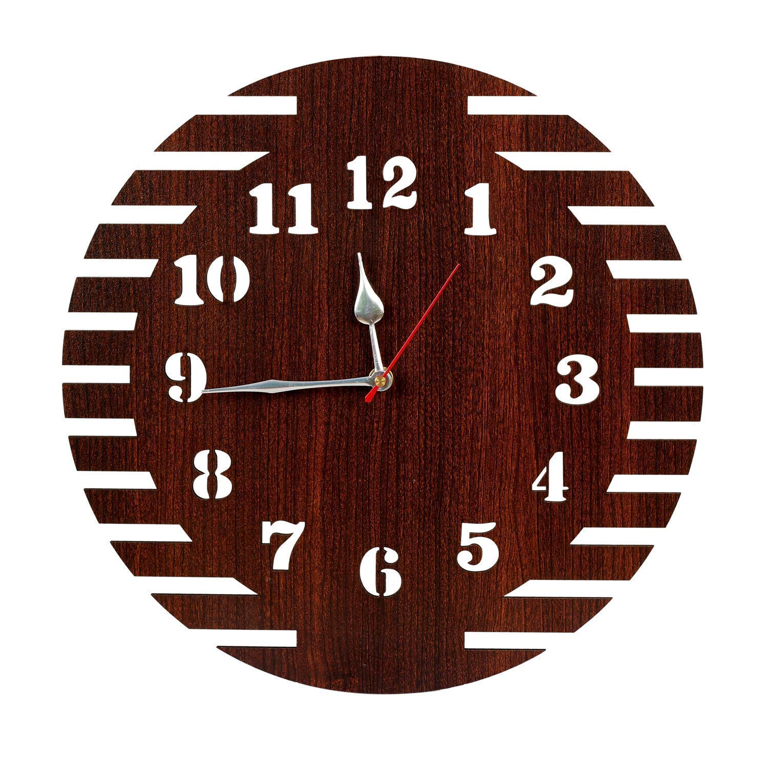 Mdf Wood Wall Clock (Brown_0.9 Inch X 11.8 Inch X 11.8 Inch)